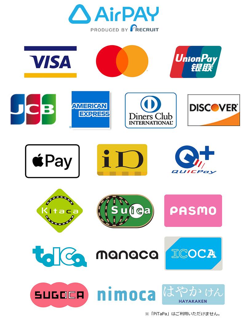 利用可能なクレジットカード等一覧
